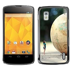 YiPhone /// Prima de resorte delgada de la cubierta del caso de Shell Armor - Cute Girl & Globe Cool - LG Google Nexus 4 E960