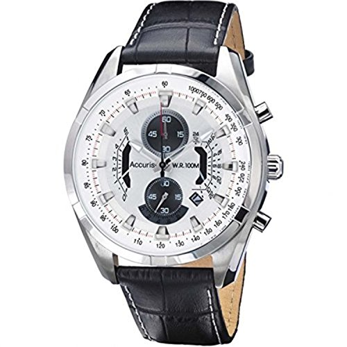 Accurist MS785B Mens White Black Chronograph Sports Watch