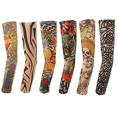 6pcs Temporary Tattoo Sleeves, Hmxpls Body Art Arm Stockings Slip Accessories Fake Temporary Tattoo Sleeves, Tiger, Crown Heart, Skull, Tribal Shape -
