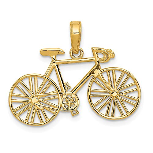 Solid 14k Yellow Gold Polished Bicycle Pendant Charm (26mm x 18.5mm)