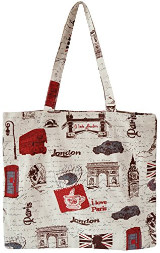 Canvas Tote Beach Bag with Zipper, Grocery Bag Cloth Shopping Bag Daily Use Bag (London)