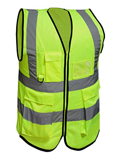 (Misslo 5 Pockets High Visibility Zipper Front Breathable Safety Vest with Reflective Strips, Neon Yellow (Large))