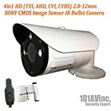 101AV Security Bullet Camera 1080P True Full-HD 4 IN 1(TVI, AHD, CVI, CVBS) 2.8-12mm Variable Focus Lens 2.4Megapixel CMOS Image Sensor IR In/Outdoor DWDR OSD Camera (White)