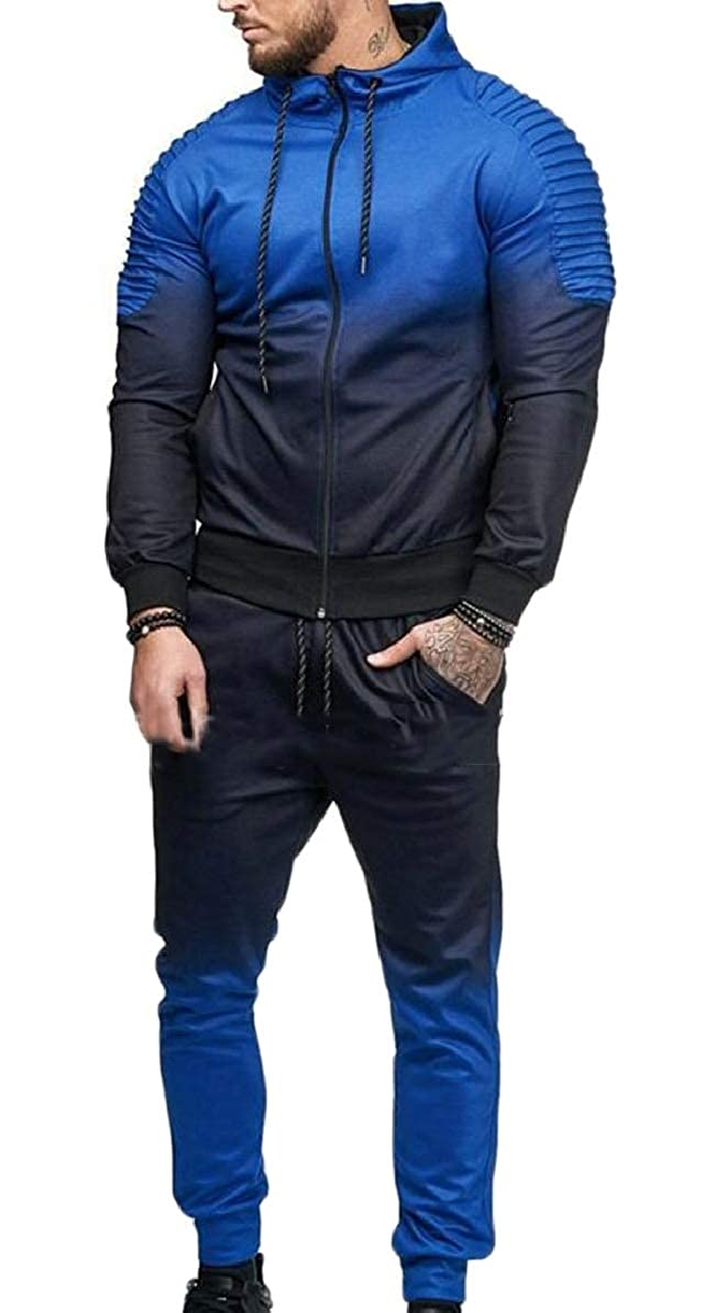 FLCH+YIGE Mens Gradient Color Hoodie Athletic Pants 2 Pieces Outfit Tracksuit Blue XL