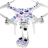 MightySkins Protective Vinyl Skin Decal for DJI Phantom 3 Professional Quadcopter Drone wrap cover sticker skins Blue Petals