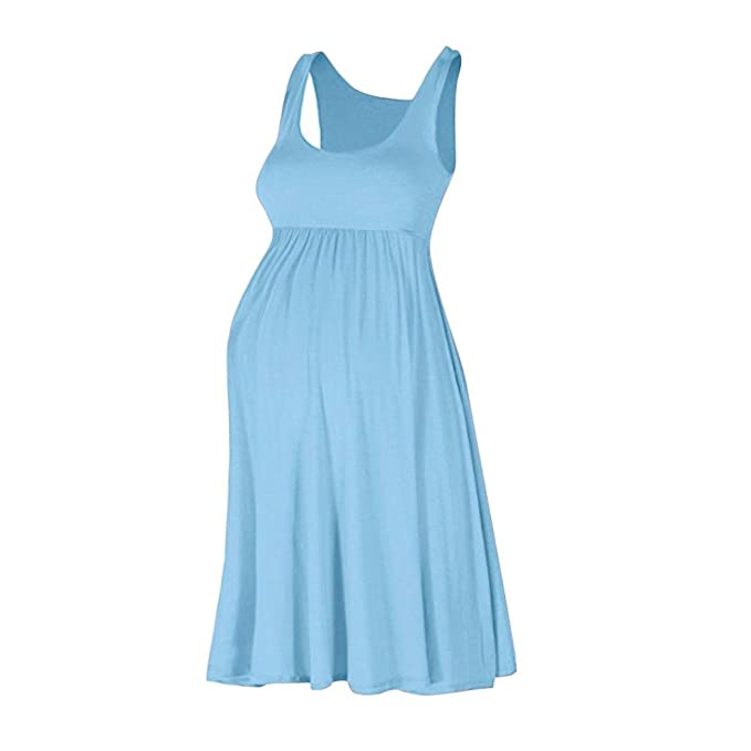 Cinnamou Vestido sin Mangas Premamá de Color Sólido de Cintura Alta para Mujeres Embarazadas (CN