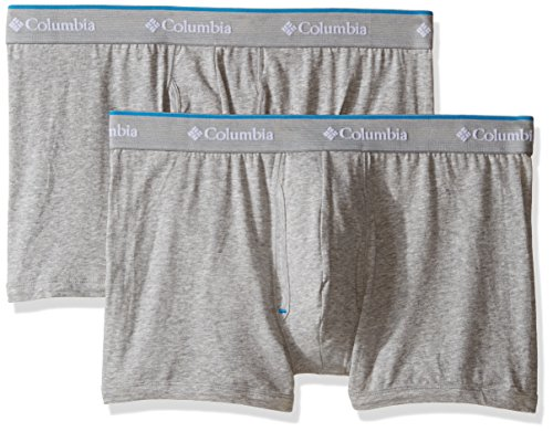 Stretch Cotton Boxer Trunk (Columbia Men's 2-Pack Cotton Stretch Trunk, Grey Heather/Gray, Large)