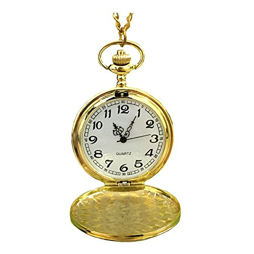 Reatos Classic Smooth Full Hunter Pocket Watch With 31.5″ Chain (Golden)