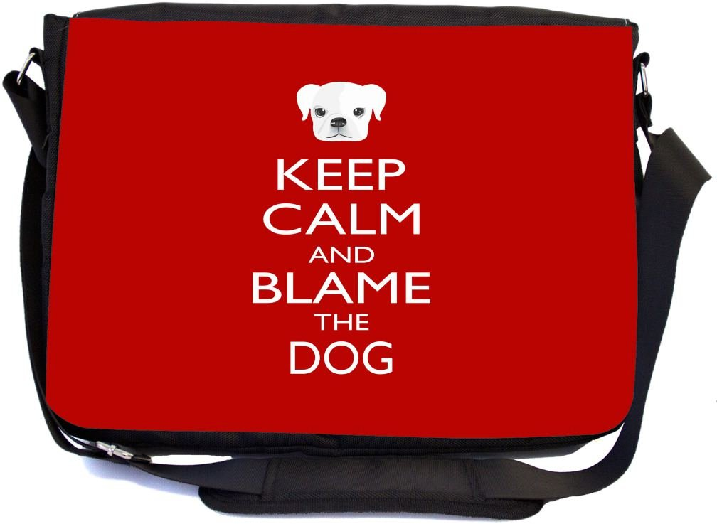 chic Rikki Knight Keep Calm and Blame the Dog Red Color Design Multifunctional Messenger Bag - School Bag - Laptop Bag - with padded insert for School or Work - Includes Matching Compact Mirror