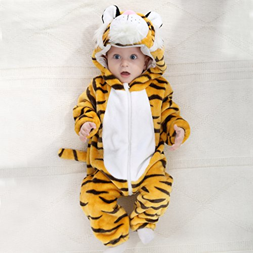 IDGIRL baby girls and boys' Flannel Cotton rompers Tiger-100CM Tiger 19-24 Months by IDGIRL (Image #2)