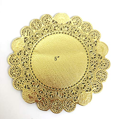 PEPPERLONELY 50 PC Gold Classic Metallic Doilies, 5 Inch