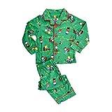 Peanuts Toddler Boys' Holiday Coat Style Pajama Set, Green, 4T