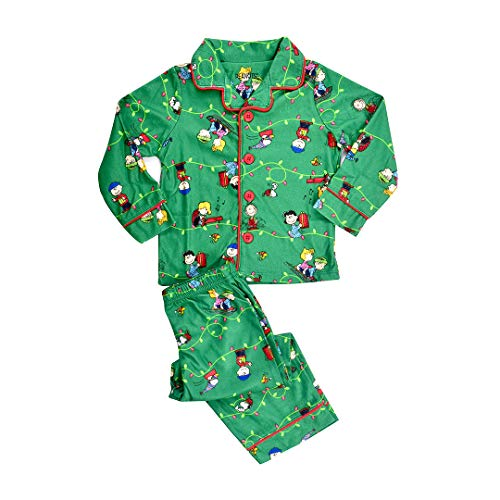 Peanuts Toddler Boys' Holiday Coat Style Pajama Set, Green, 4T by Peanuts (Image #1)
