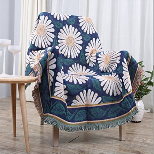 35.5x60 Inch Woven Throw Blanket Three Layer Boho Daisy Pattern Throw for Indoor/Outdoor Use Everyday Blanket (Three Layer Throw)
