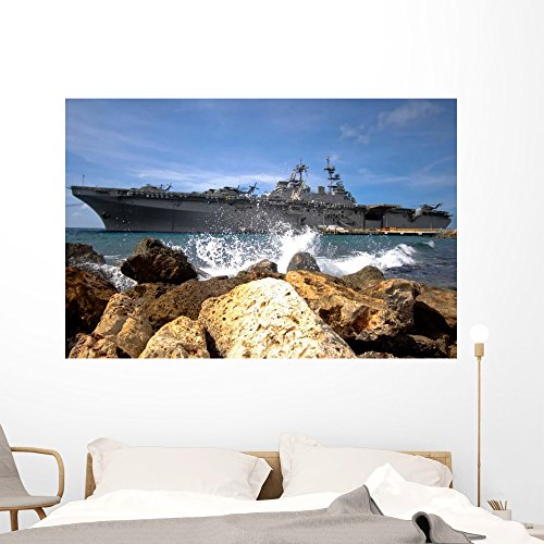 Aircraft Carrier Wall Murals - Uss kearsarge Wall Decals The Amphibious Assault Ship Uss Kearsarge - 60 inches x 40 inches - Peel and Stick Removable Graphic ()