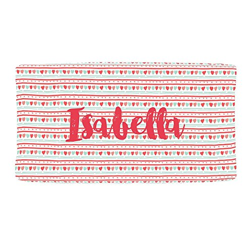 (Carousel Designs Personalized Custom Coral and Mint Heart Stripe Changing Pad Cover Isabella Idea - Organic 100% Cotton Change Pad Cover - Made in The USA)