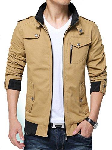 Kjdshwa Men's Long Sleeve Full Zip Lightweight Jacket(Khaki 888,L - 888 Store