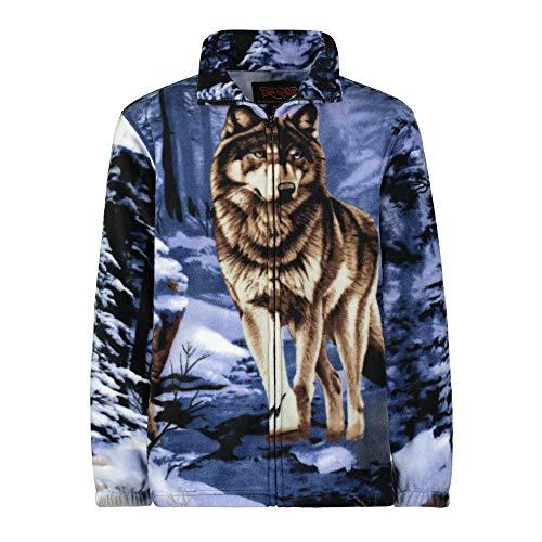 Men's Women's Sweater Jacket Full Zip Fleece Wolf Wildlife Sweatshirt Wildkind (Womens Full Zip Camo)