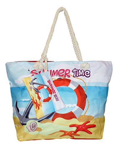 Tropical Print Beach Bag Tote with Pouch (Summer Time - Life Buoy)