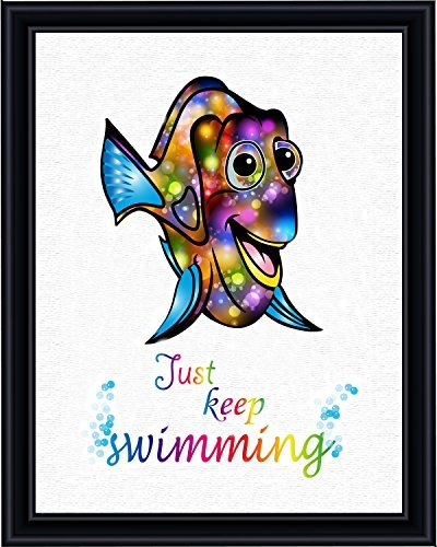 Aprilskys Workshop 8X10 Dory Finding Nemo Just Keep Swimming Canvas Art Print Wall Decor Home Décor Room Deco Inspirational Wall Art Gift A185