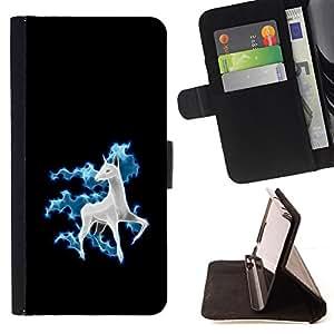 - cool funny cute horse unicorn fancy - - Prima caja de la PU billetera de cuero con ranuras para tarjetas, efectivo desmontable correa para l Funny HouseFOR Samsung Galaxy S6