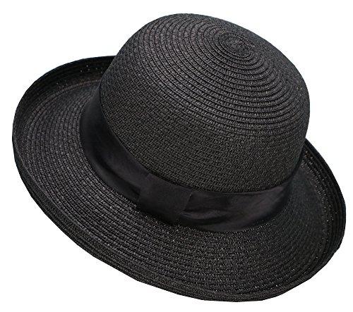 (Lullaby Womens Foldable UPF 50+ Wide Brim Bucket Straw Sun Hat Black)