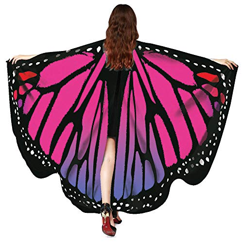 VEFSU Women Butterfly Party Wings Shawl Scarves Ladies Nymph Pixie Poncho Costume Accessory (Hot Pink) ()