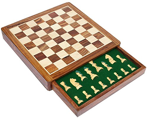 Icrafts India Handmade Wooden Magnetic Chess Set Travel Board Game with Felted ()