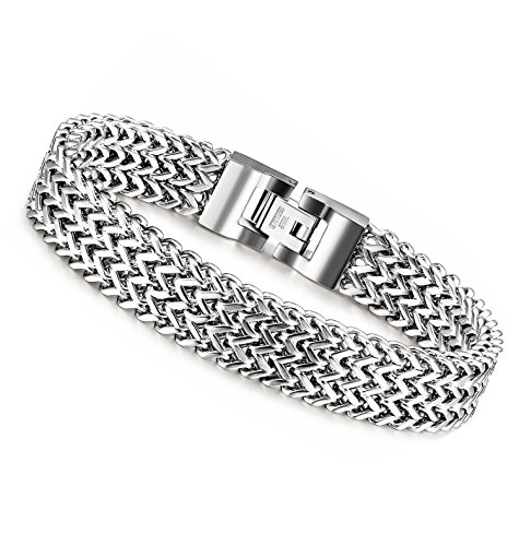 LOYALLOOK Stainless Steel 3 Rows Curb Wheat Chain Link Bracelets for Men Women Silver Tone ,8.0 Inches