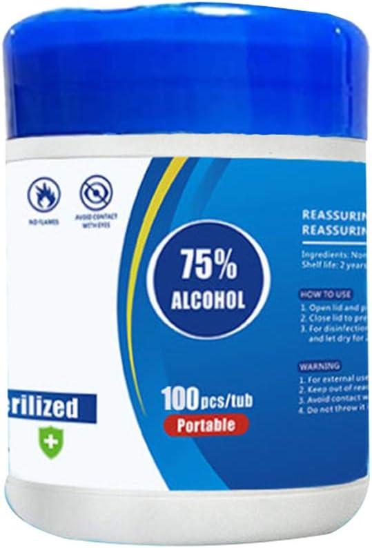ANLIS Salviette disinfettanti Portable Barrel 100 per pompaggio di Auto in Scatola 75/% di Alcol Bianco in Tessuto Bagnato