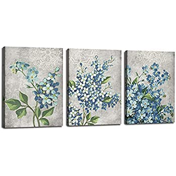 Canvas Wall Art Full Bloosm Flowers Painting Pictures Blue Florals Prints, Retro Grey 12