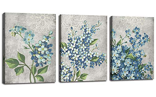 - Canvas Wall Art Full Bloosm Flowers Painting Pictures Blue Florals Prints, Retro Grey 12