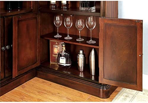 Pemberly Row Traditional Wood Home Corner Bar with Wine Rack in Dark Cherry