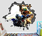 Transformers Bumblebee Attack Ultra Magnus Wall Decal Smashed 3D Sticker Vinyl Decor Mural Movie - Broken Wall - 3D Designs - OP341 (Large (Wide 40'' x 36'' Height))