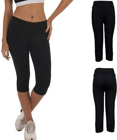 FELZ Leggings Deporte Mujer Cintura Alta Mujer Pantalones de Yoga para Correr y Estiramiento de Cadera Leggins Mujer Fitness 3/4 Leggins Mujer Tallas Grandes Cortos Negro Leggins Mujer: Amazon.es: Ropa y accesorios