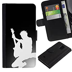 All Phone Most Case / Oferta Especial Cáscara Funda de cuero Monedero Cubierta de proteccion Caso / Wallet Case for Samsung Galaxy S5 Mini, SM-G800 // Guitar Silhouette