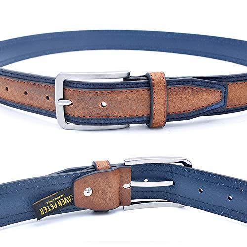 Cinturones para pantalones de moda para hombre, estilo casual, con diseño de patchwork, Lightbrownnavy, 100cm 32to35 Inch