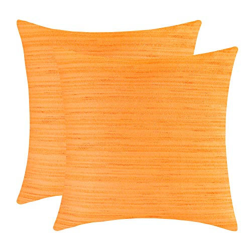 The White Petals Orange Euro Sham Covers for Bed (26x26 inch, Pack of 2) (Sham Euro Orange)