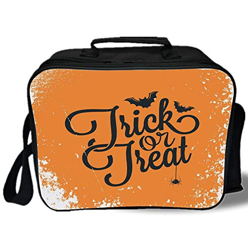 Insulated Lunch Bag,Vintage Halloween,Trick or Treat Halloween Theme Celebration Image Bats Tainted Backdrop Decorative,Orange Black,for Work/School/Picnic, Grey