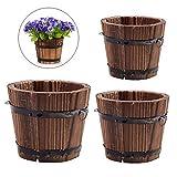 Vtete 3 Pcs Rustic Succulent Planter Box Wood Barrels Flower Pot Plant Container Box for 3 Different Sizes