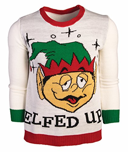 Costumes Ski Forum (Forum Men's Ugly Christmas Sweater, Elfed up, White/Green, Large)