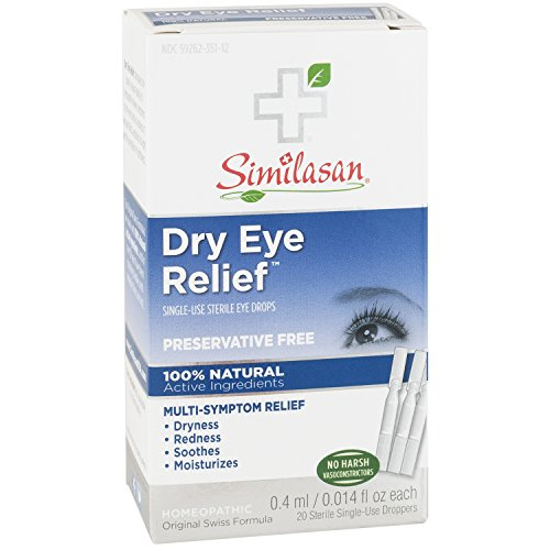 Similasan Dry Eye Relief Eye Drops .014 Ounce Single-Use Droppers, 20 Count, Preservative Free, for Temporary Relief from Dry or Red Eyes ()