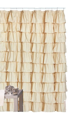 Flamenco Ruffle Shower Curtain (Ivory) (Tiered Shower Curtain Ruffle)