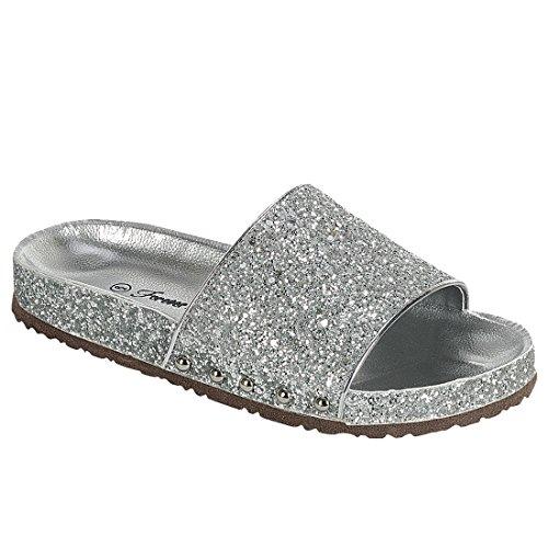 Per Sempre Fr01 Womens Sparkle Glitter Sandali A Fascia Larga In Argento