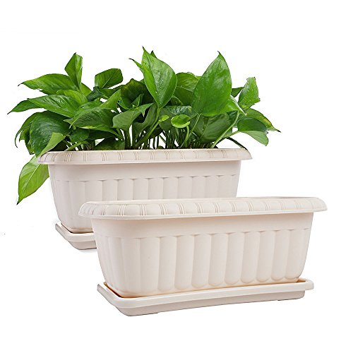Mkono 2 Pack Rectangular Planter Window Box 15 inches Plastic Garden Pot with Saucers, Beige (Pot Box)