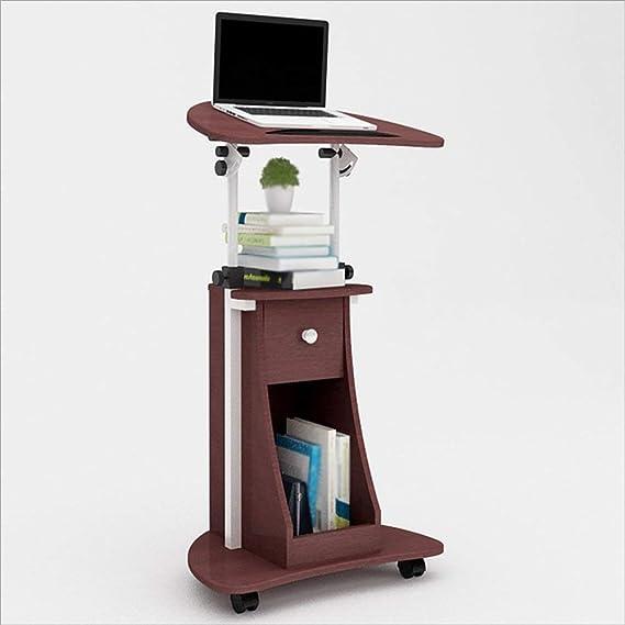 Mesa plegable compacta de escritorio móvil con estantes de altura ...