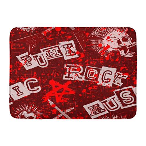 Red Bone Guitars (Emvency Bath Mat Book Pink Rock Abstract Red Grunge Punk Skulls and Guitars Bone Broadsheet Bathroom Decor Rug 16