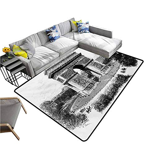 """Anti-Slip Coffee Table Floor Mats Vintage,Old Photo of Auguste Vitu Monument in Paris French Heritage Retro Picture,Black and White 60""""x 72"""",Silky Smooth Bedroom Mats"""
