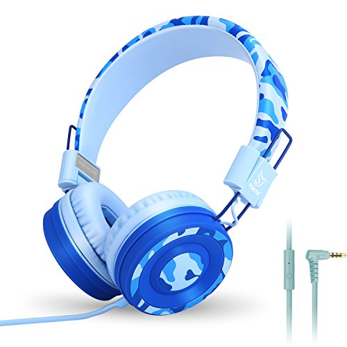 Yomuse C89 On Ear Foldable Headphones w/ Microphone, Adjustable Headband for Kids Adults, iPhone iPad iPod Computers Tablets SmartPhones DVD, Camo Blue Ipod Blue Headphone