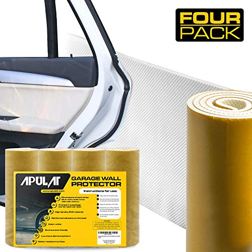 Guard Wall - Apulat Garage Wall Protector – Car Door Guard - 4 self-Adhesive, White, Foam Bumper Pads That Offer Corner and Edge Scratch Protection - Protects Vehicle Doors and Walls in Tight Parking Places